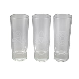 Set of 3 Celtic Style Etched Glass Art Tall Shot Glasses