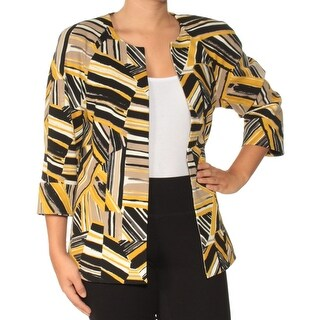 KASPER Womens Yellow Printed Suit Jacket Size: 6