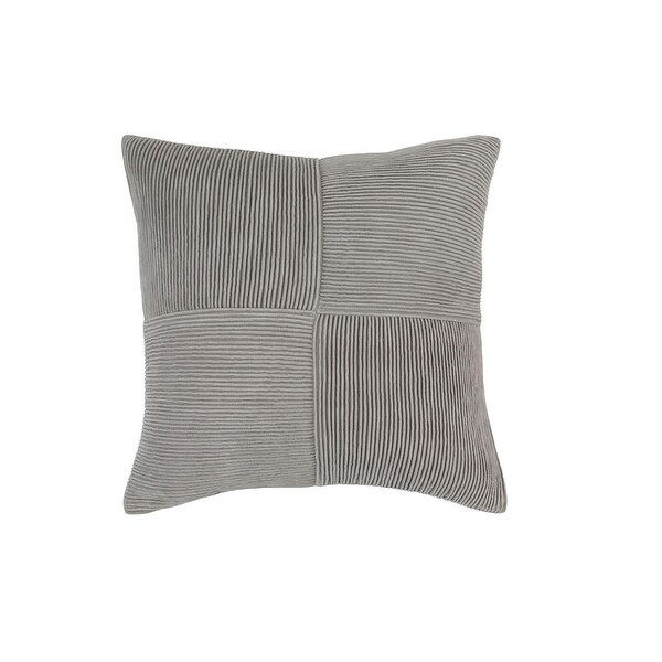 "18"" Smoke Grey Basket Weave Square Decorative Throw Pillow"