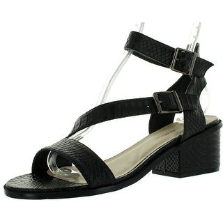 C Label Whitty-1 Womens Ankle Strap Crocodile Chunky Heel Buckle Dress Sandals - Black - 8.5 b(m) us