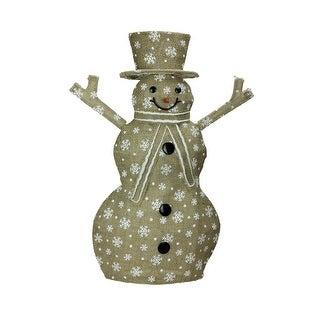 "24"" Lighted Natural Snowflake Burlap Standing Snowman Christmas Yard Art Decoration"