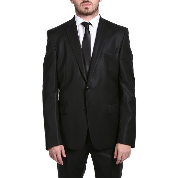 Versace Collection Men's Wool Cotton Blend Solid Two-piece Suit Black