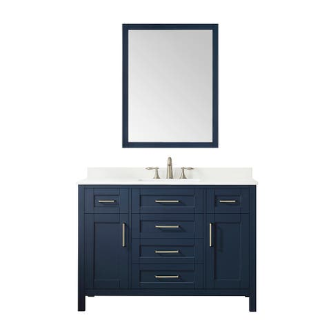 OVE Decors Tahoe 48 in. Midnight Blue Single Sink Vanity with White Cultured Marble Top and Mirror