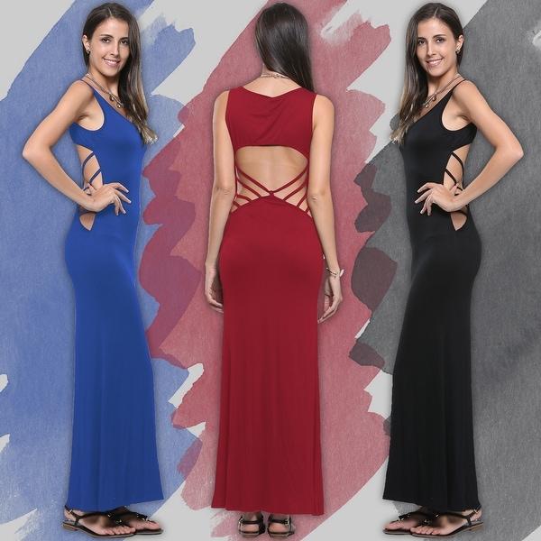 Women's Casual Summer Fashion Hollow Open Back Sleeveless Long Maxi Dress
