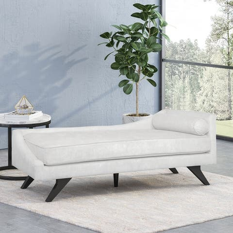 """Cagle Mid-Century Modern Fabric Chaise Lounge by Christopher Knight Home - 68.00"""" L x 27.50"""" W x 25.00"""" H"""