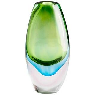 "Cyan Design 10024  Canica 6"" Diameter Glass Vase - Green / Blue"