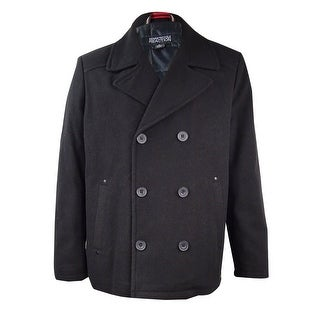 Kenneth Cole Men's Wool-Blend Pea Coat (Black, XL) - Black - XL
