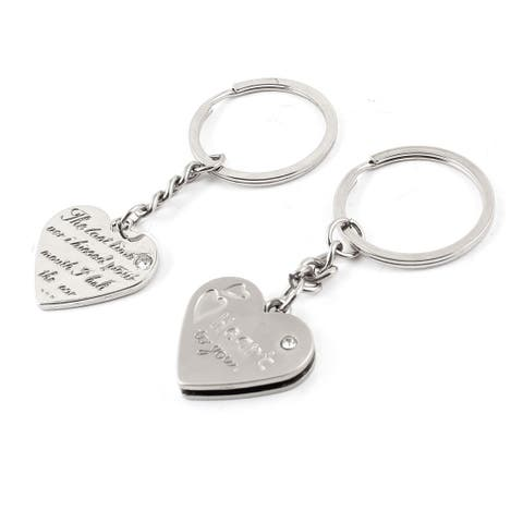 Unique Bargains Couples Love Words Printed Heart Shaped Pendant Keychain Keyrings Pair