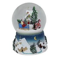 """5.5"""" Animated Musical Country Winter Sleigh Ride Water Globe - black"""