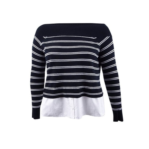 eb2e787458e INC International Concepts Women's Plus Size Layered-Look Sweater - Deep  Black