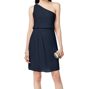 Adrianna Papell NEW Midnight Blue Size 14 One Shoulder Sheath Dress