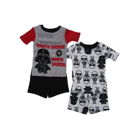 Disney Little Boys Red Black Star Wars Darth Vader 2pk Pajama 2pc Short Sets
