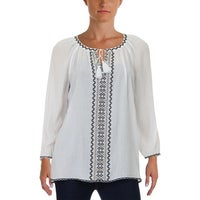 498899a11f782f Shop NYDJ Womens Plus Peasant Top Gauze Embroidered - Free Shipping ...