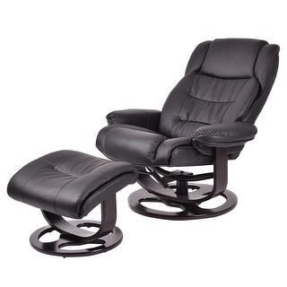 Costway PU Leather Executive Leisure Recliner Chair Swivel Furniture w/ Ottoman