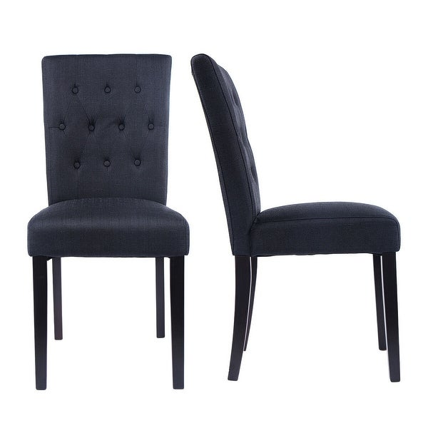Shop Costway Set of 2 Fabric Dining Chair Armless Chair ...
