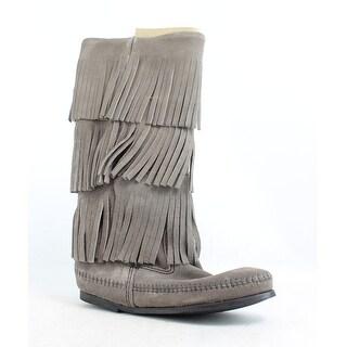 Minnetonka Womens Variation Grey Fashion Boots Size 6