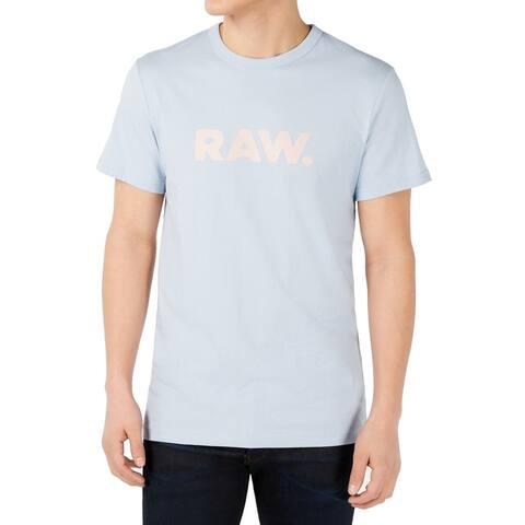 G-Star Raw Mens T-Shirt Pale Blue Size 2XL Logo Graphic Short Sleeve Tee