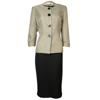 Evan Picone Women's Tweed Park Avenue Skirt Suit - champagne multi