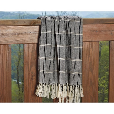 Luis Plaid Throw in Off-White, Black and Beige