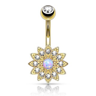 Crystal Pave Petals with Opal Center Small Flower Belly Button Navel Ring - 14GA (Sold Ind.)