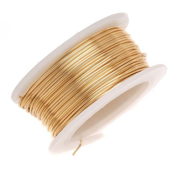 Artistic Wire, Silver Plated Craft Wire 26 Gauge Thick, 15 Yard Spool, Gold Color