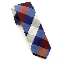 Men's Blue and Burgundy Tie