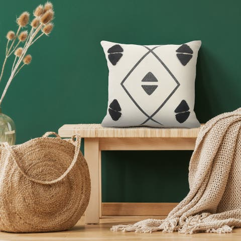 Black and Gray Tufted Geometric Throw Pillow