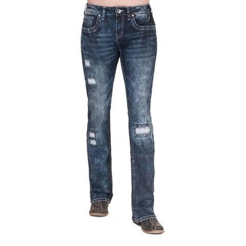 Cowgirl Tuff Western Jeans Womens Tuff Enough Dark Wash