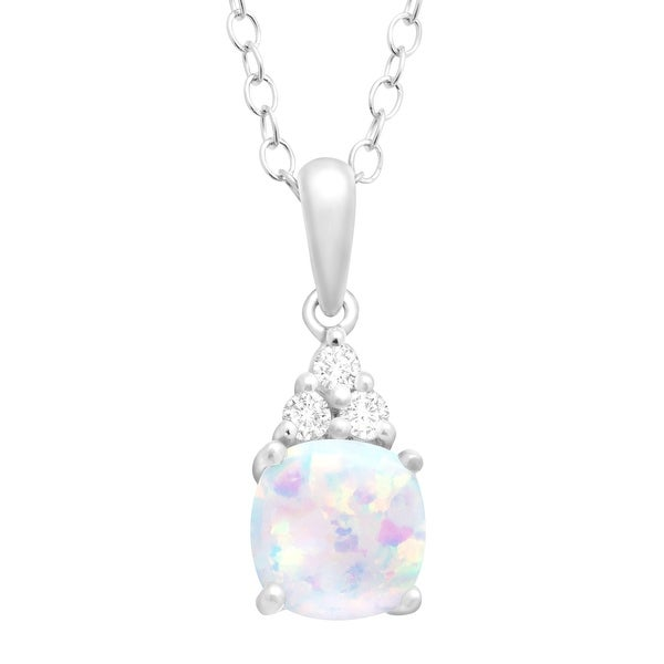 Cushion-Cut Created Opal and White Topaz Pendant Necklace in Sterling Silver, 18""