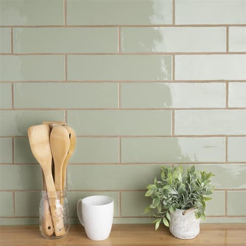 SomerTile 3x12-inch Gloucester Sage Ceramic Wall Tile (22 tiles/5.5 sqft.)