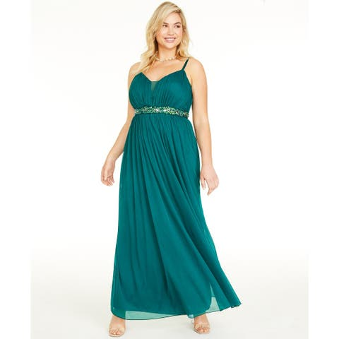 Teeze Me Women's Trendy Plus Size Rhinestone-Trim Gown Green Size 20