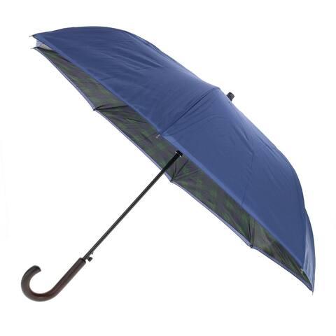 ShedRain Plaid Print Reversible Stick Umbrella - Black/Navy - one size