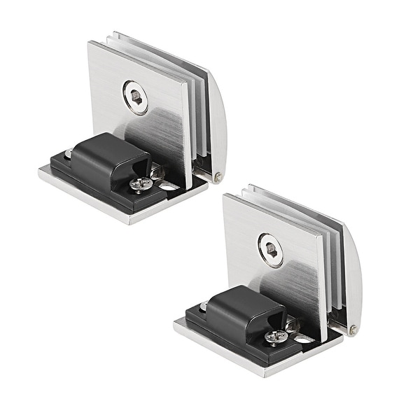 Glass Hinge Cabinet Door Hinge Glass Clamp Stainless Steel For 5-8mm 2Pcs