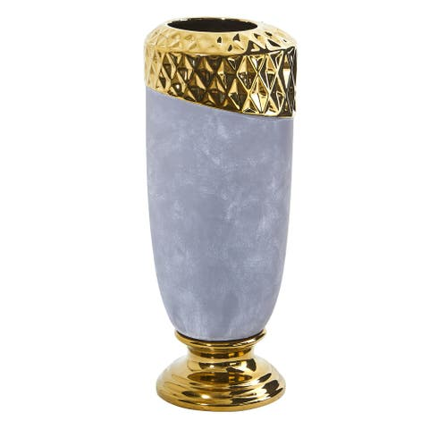 """11.5"""" Regal Stone Vase with Gold Accents"""