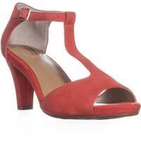 GB35 Claraa Block Heel T Strap Sandals, Hibisbus