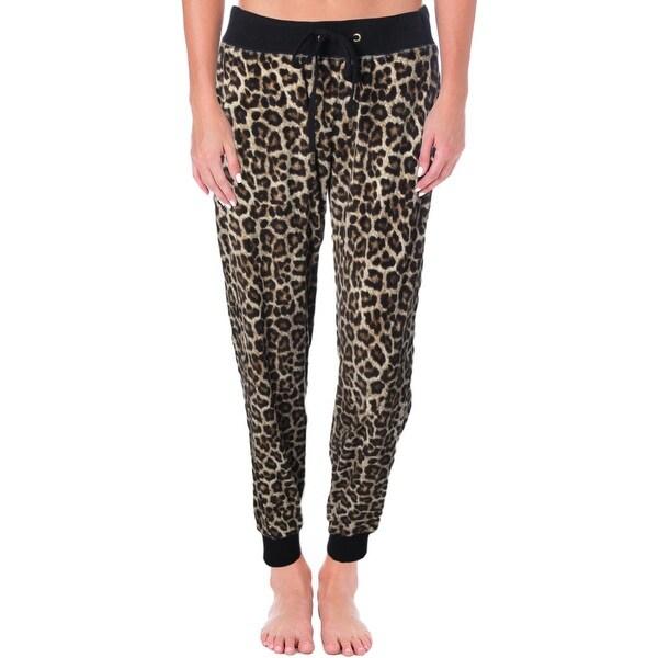 MICHAEL Michael Kors Womens Track Pants Velour Leopard Print