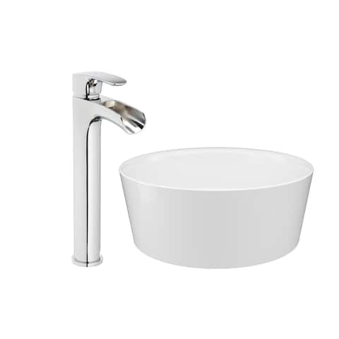 """Jacuzzi SS6493 Solid Surface 15-3/16"""" Vessel Bathroom Sink with 1.2 GPM De"""
