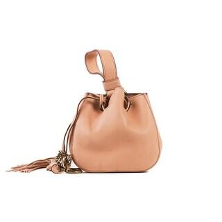 Roberto Cavalli Women's Mini Tan Leather Tassel Wristlet Bucket Bag