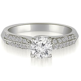 0.75 cttw. 14K White Gold Lucida Two-Row Round Diamond Engagement Ring