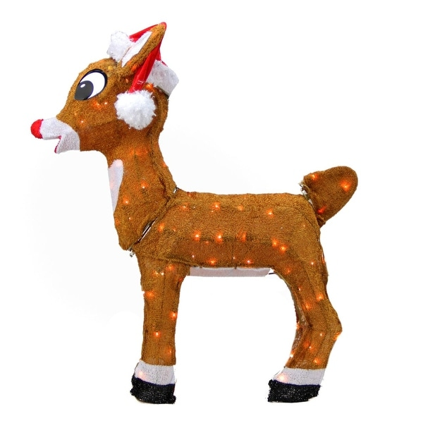 "26"" Pre-Lit Rudolph the Red-Nosed Reindeer in Santa Hat Christmas Outdoor Decoration - Clear Lights - brown"