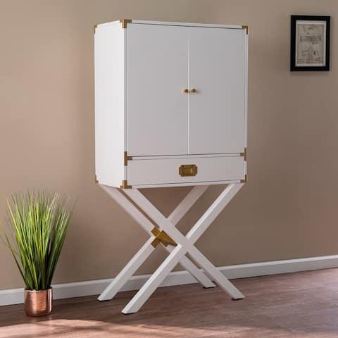 Canna Transitional White Wood Bar Cabinet