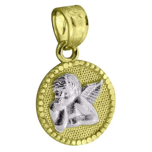 "Thinking Angel Coin Pendant 10k Yellow White Gold 0.6"" Micro Cherub Guardian"