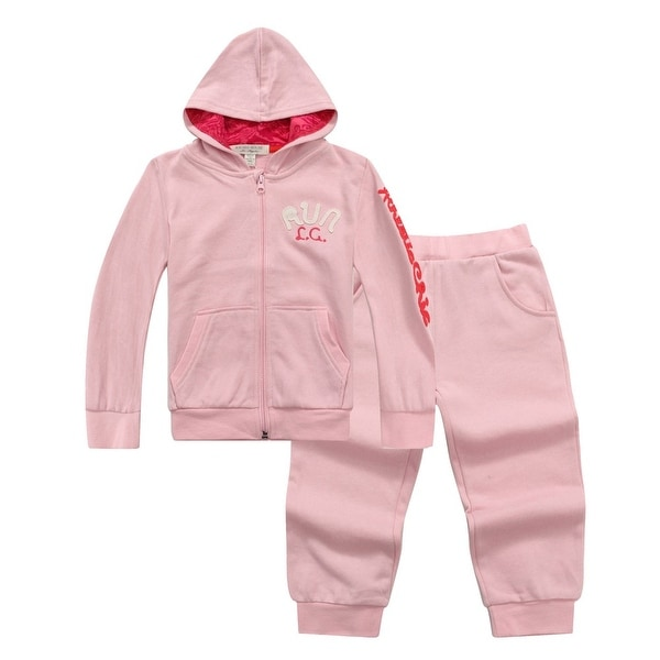 Richie House Baby Girls Pink RUN Hoodie Sweats Pant Set 6M-12M