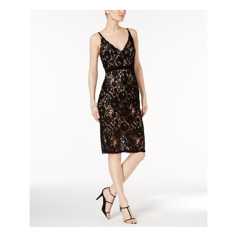 XSCAPE Black Spaghetti Strap Knee Length Empire Waist Dress Size 12
