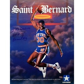 "Bernard King Signed Saint Bernard Converse 16x20 Poster w/ ""It's Good to be King"" insc ()"