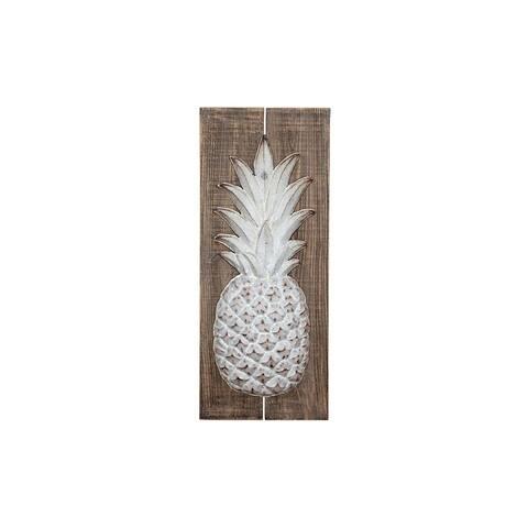 Wood & Embossed Metal Pineapple Wall Decor - Brown