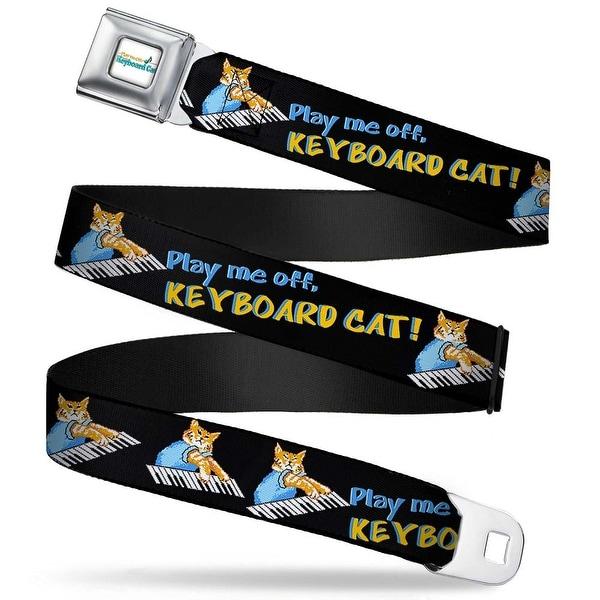 Keyboard Cat Logo White Full Color Play Me Off, Keyboard Cat Poses Black Seatbelt Belt
