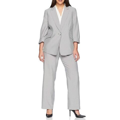 Le Suit Womens Pant Suit Gray Size 22W Plus Pinstripe Single Button
