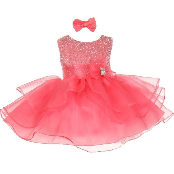 Baby Girls Coral Rhinestuds Bow Sash Flower Girl Headband Dress 3-24M