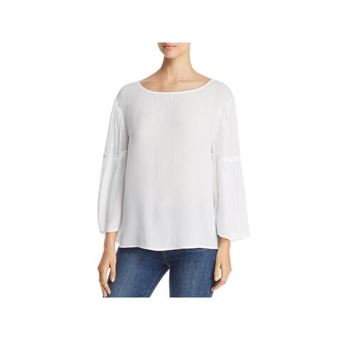 Side Stitch Womens Casual Top Woven Bell Sleeves